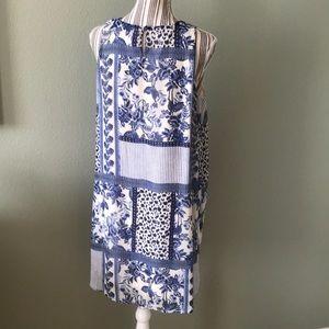 Tacera Dresses - Tacera Dress Polyester blue & cream, lined